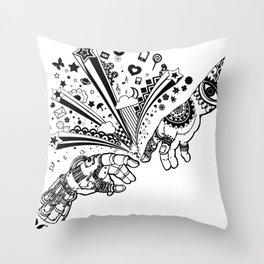 Creation of human Throw Pillow