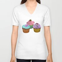 cupcakes V-neck T-shirts featuring Cupcakes!  by Megs stuff...