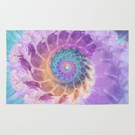 Painted Fractal Spiral in Turquoise, Purple, and Orange Rug