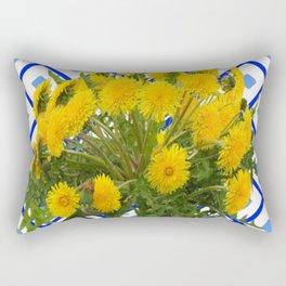 Yellow Blooming Dandelion Flowers On Delft Blue Tile Rectangular Pillow