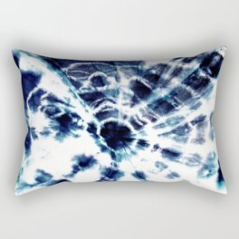 Tie Dye Sunburst Blue Rectangular Pillow