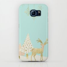 Merry christmas- gold deer - and xmas wishes on aqua backround Galaxy S7 Slim Case