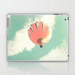 Nursery coral hot air balloon over mint sky Laptop & iPad Skin