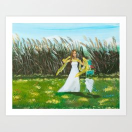 Beautiful Girl with Egret Art Print