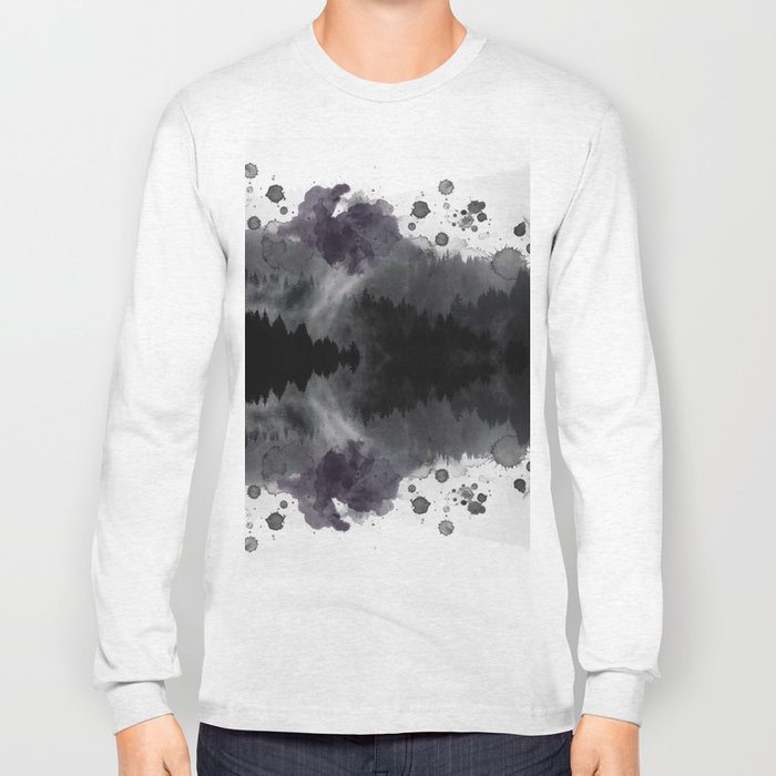Watercolor forest reflections -abstract Long Sleeve T-shirt