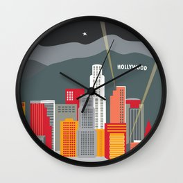 Los Angeles, California - Skyline Illustration by Loose Petals Wall Clock