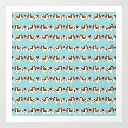 Cavalier King Charles Spaniel blenheim heart dog breed spaniels pet gifts Art Print
