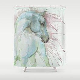 Arabian horse watercolor art Shower Curtain