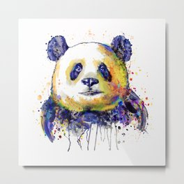 Colorful Panda Head Metal Print