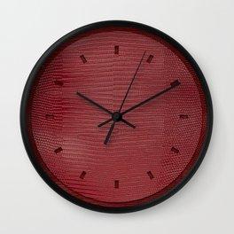 Red Lizard Leather Print Wall Clock
