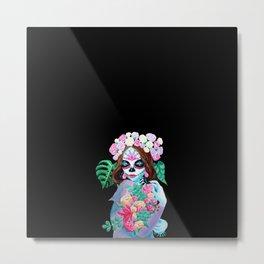 Sugar Skull Girl with Flowers - La Catrina Metal Print
