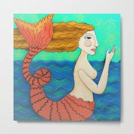 Abstract Mermaid Painting  Metal Print