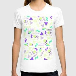 Lime green purple geometrical retro 80's modern pattern T-shirt