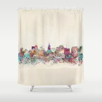 wisconsin Shower Curtains featuring Madison Wisconsin skyline by bri.buckley