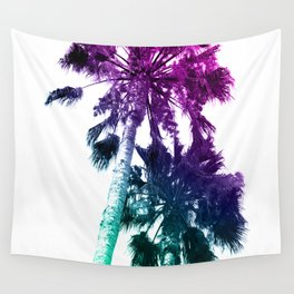 Retro Vintage Ombre Pop Art Los Angeles, Southern California Palm Tree Colored Print Wall Tapestry