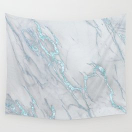 Marble Love Sea Blue Metallic Wall Tapestry