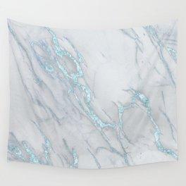 Marble Love Sea Blue Metallic Wall Tapestry
