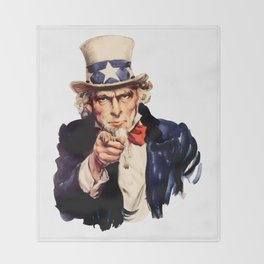 Uncle Sam Pointing Finger Throw Blanket