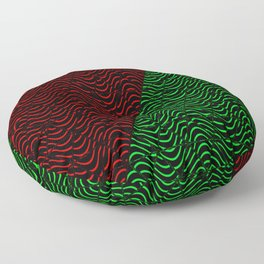 Trippy Triangle Color-Split (Red/Green) Floor Pillow