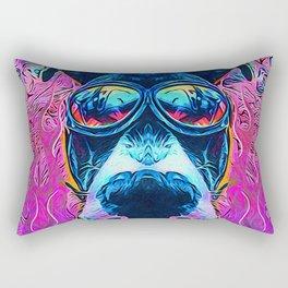 Flaming Fisheyed Dog Rectangular Pillow