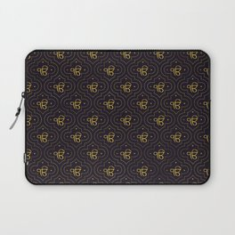 Gold Ek Onkar / Ik Onkar pattern on black Laptop Sleeve