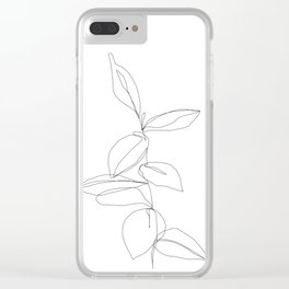 One line minimal plant leaves drawing - Berry Clear iPhone Case