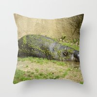 hippo Throw Pillows featuring hippo by Mathilde Nieuwenhuis