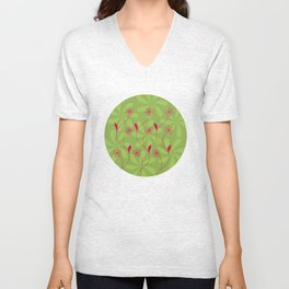 Flowerline – green Unisex V-Neck