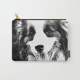 border collie shepherd dog splatter watercolor white Carry-All Pouch