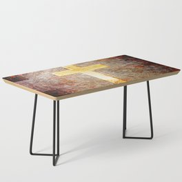 Gold Cross on Rusted Metal Plate Coffee Table
