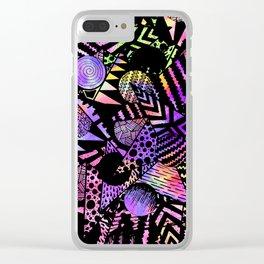 Geometric Retro Neon Watercolor Black Drawn Shapes Clear iPhone Case