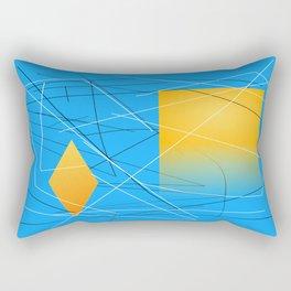 Blue Yellow Abstract Diamond Rectangular Pillow