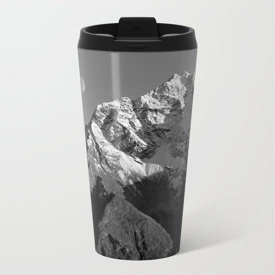 Moon Over Pioneer Peak B&W Metal Travel Mug