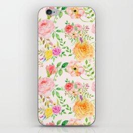 Watercolor Peach Rose Pattern iPhone Skin