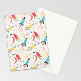 Out of Space, Planets, Stars Children's Pattern - White Stationery Cards