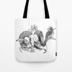 The ramskull and bird Tote Bag