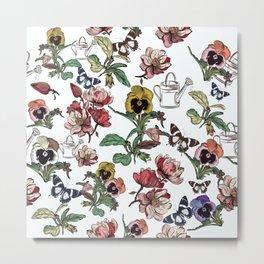 Violets garden. Vintage nostalgia Metal Print