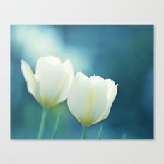 Aqua Blue Tulip Photography, Teal Turquoise White Flowers, Floral Nature Canvas Print