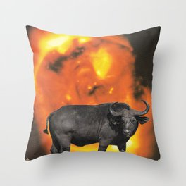 buffalo sun | 1970s SciFi Paper Collage Analog | Bison | Solar Outer Space Psychedelic Funny Throw Pillow