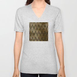 Havana Sultry Night Gold and Black Art Deco Unisex V-Neck