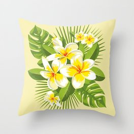 Tropical Bouquet. Plumeria Throw Pillow