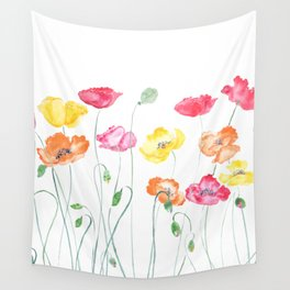 colorful poppies watercolor  horizontal Wall Tapestry