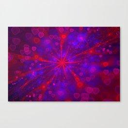 Valentine's Day   Romantic Galaxy   Universe of red, blue, purple hearts Canvas Print