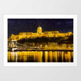 Budapest Chain Bridge And Castle Art Art Print