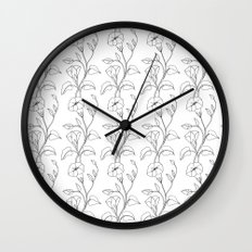 Floral Drawing in black and white Wall Clock