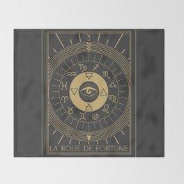 La Roue de Fortune or Wheel of Fortune Tarot Throw Blanket