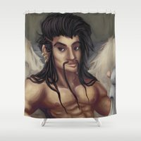 pinup Shower Curtains featuring Pinup Draven by Allie Bustion