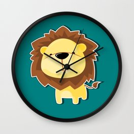 A Cute Smiling Lion Graphic Illustration Wall Clock