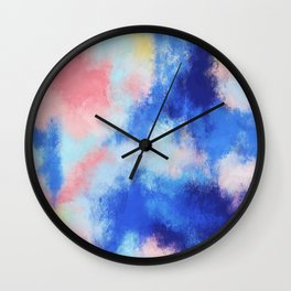 Spring vibes: pink & blue abstract Wall Clock