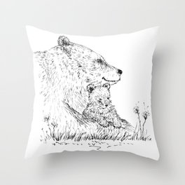 Mom and Baby Grizzly Bear Throw Pillow